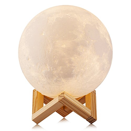 Switcheasy Colours - AED Moon Lamp Night Light 3D Printed 2 Color Cool and Warm Dimmable Touch Switch Easy USB Charging, Elegant Wood Stand, Baby Nursery Light, Lunar Lamp Romantic Light 5.5 INCHS