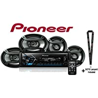 Pioneer Digital Media Receiver w/ Built in Bluetooth One Pair of 6.5 and one Pair of 6x9 Car Speakers with a SOTS Lanyard