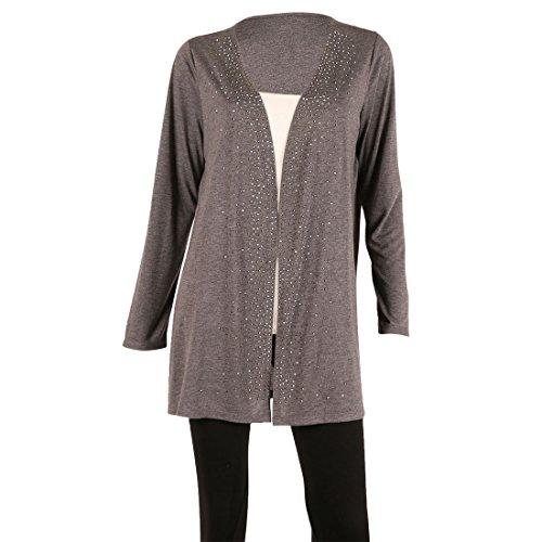Cropped Jacket & Silk Skirt (Women's 'Sand Blast Rayon' Long Sleeve Draped Open Cardigan,HEATHER CHARCOAL,M)