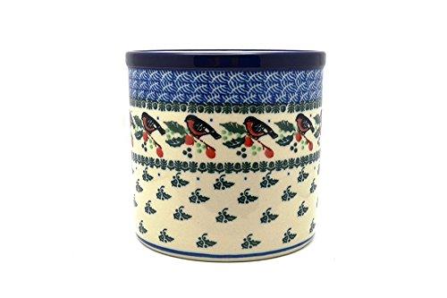 Polish Pottery Utensil Holder - Red Robin