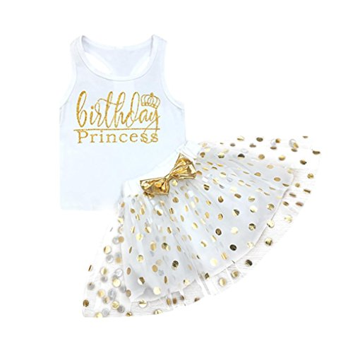 - JPOQW Baby Girl Dresses, Toddler Kids Birthday Princess Sleeveless Vest+Dot Bubble Skirt Set (White, 5 Years Old)