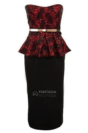 304bb967f5 Fantasia Boutique ® Ladies Lace Sequin Boobtube Peplum Bodycon Skirt Knee  Length Womens Dress  Amazon.co.uk  Clothing