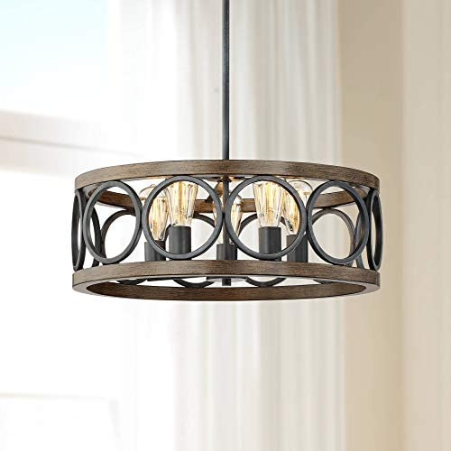 Salima Bronze Wood Pendant Chandelier 21 1 4 Wide Rustic Farmhouse Openwork 5-Light Fixture for Dining Room House Foyer Kitchen Island Entryway Bedroom Living Room – Franklin Iron Works