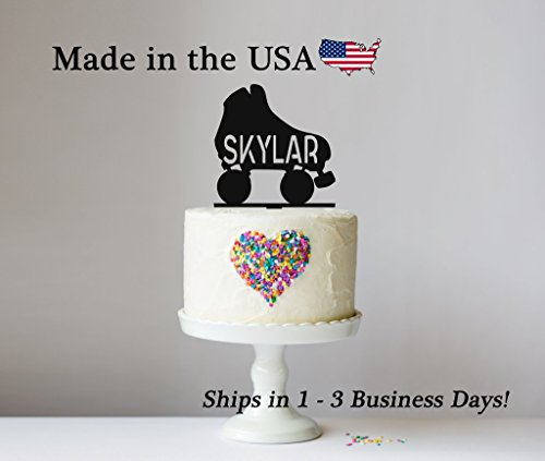 Roller Skate Cake Topper with FREE Keepsake Base, Birthday Party, Cake Topper, Roller Blade, Skating, Hockey, Girls Birthday, Boys Birthday, Personalized -