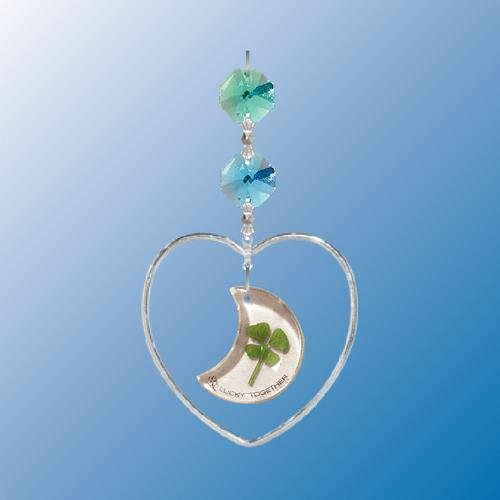 Hanging Sun Catcher or Ornament..... Heart Shapped W/ 4 Leaf Moon Clover With Swarovski Austrian - Crystals Austrian Pewter Moon
