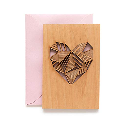 Patchwork Heart Laser Cut Wood Card (Love / 5 Year Anniversary/Boyfriend or Girlfriend/Valentine's Day/Personalized Available)