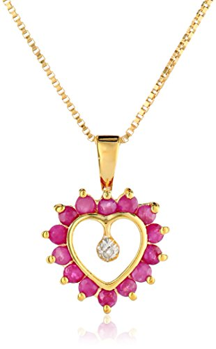 18k Ruby Necklace (18k Yellow Gold-Plated Sterling Silver Ruby Heart Pendant Necklace, 16