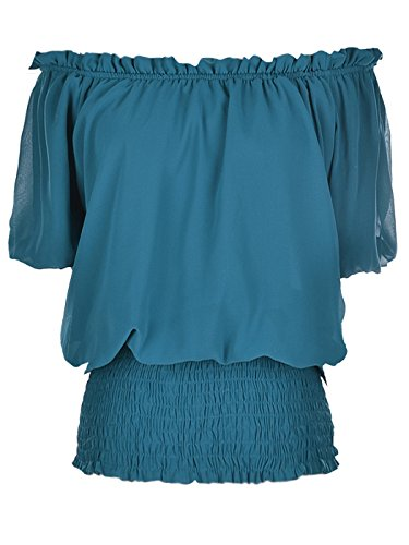 Anna-Kaci Womens Short Sleeve Ruffle Stretch Off Shoulder Boho Blouse Top, Blue, X-Large]()