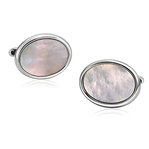 (Adisaer Stainless Steel Cuff links for Men Silver White Oval Sea Shell Business Gift Shirt Cufflink)
