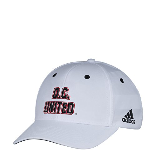 adidas MLS D.C. United Men's White Wordmark Structured Adjustable Hat, One Size, White