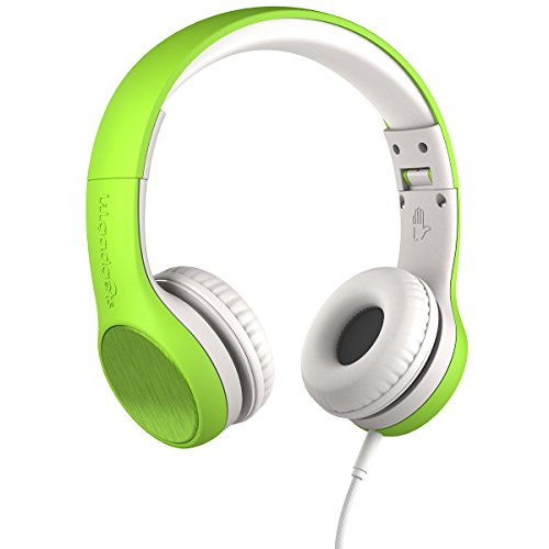 New! LilGadgets Connect+ Style Premium Volume Limited Wired Headphones with SharePort for Children/Kids (Green)