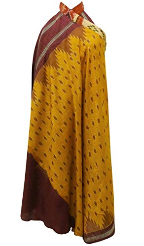 Indianbeautifulart Les Femmes Check Imprimer Pure Soie Vintage Saree rversible Rouge Wrap Summer Beach Dress Moutarde Jaune
