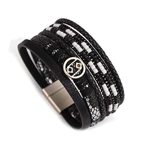 TILLY ANDERSON Multilayer Leather Bracelet for Women Handmade Crystal Metal Charm Bohemian Wide Bracelets & Bangles Jewelry,Black