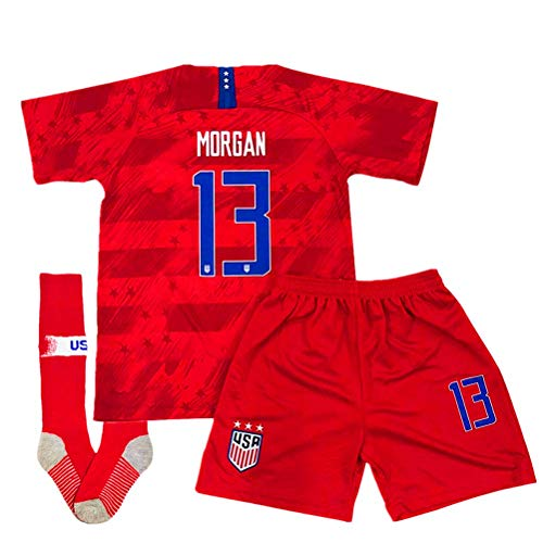 Alex Morgan #13 New 2019-2020 USA National Away Kids/Youth Socce Jersey Matching & Shorts & Socks Color Red Size 5-6Years/20 ()
