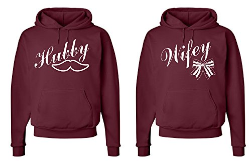 FASCIINO Matching His & Hers Couple Sweatshirt Hoodie Set - Hubby Mustache and Wifey Bow
