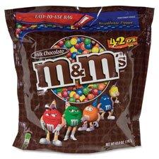 Mars, Inc MRS24908 M&Ms Candy, with Zipper On Bag, 19oz., Milk Chocolate