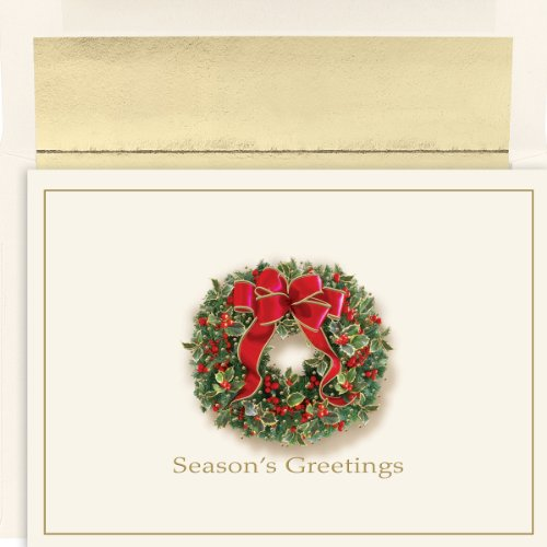 Masterpiece Studios Boxed Cards, 18-Count, Traditional Wreath (822300)