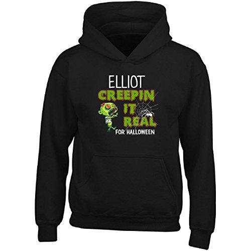 Elliot Creepin It Real Funny Halloween Costume Gift - Adult Hoodie L Black
