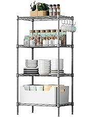 VOONEEN 4 Tier Shelf Shelving Units, Multipurpose Metal Modern Small Storage Rack with 4 Hooks, Stainless Steel Wire Organisation Suitable For Pantry Kitchen Livingroom Bathroom Office, 45*30*90 CM