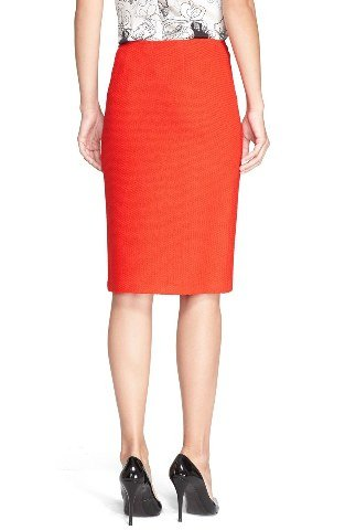 ST. JOHN Collection Women's Textured Twill Pencil Skirt Size 10 Red (Wool Twill Skirt)