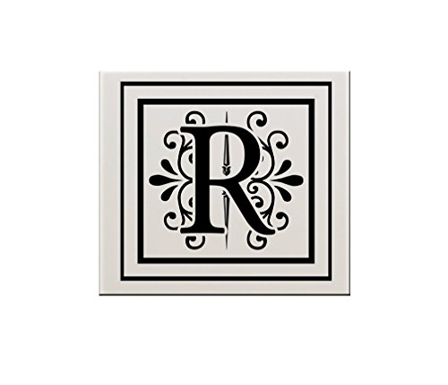 R Initial Monogram Personalized Letter R Ceramic Tile Backsplash Accent - Accent Tile Decorative Backsplash Tiles