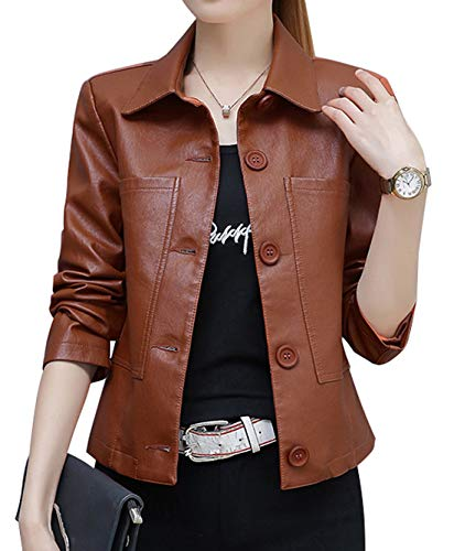 chouyatou Women's Basic Designed Button Front Single Breasted Faux Leather Trucker Jacket (Large, Brown) ()