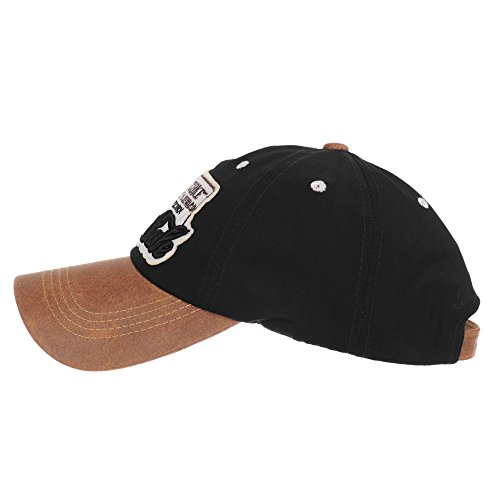 Sombrero Cap de Cotton Trucker Trucker de Negro Cap Gorras LX1192 Faux Leather Brim WITHMOONS Baseball béisbol Gorra de YwRRqU