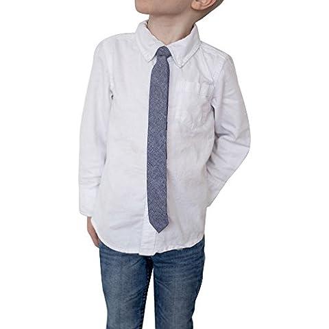 Kids Cotton Skinny Tie, Blue Denim, 1.5