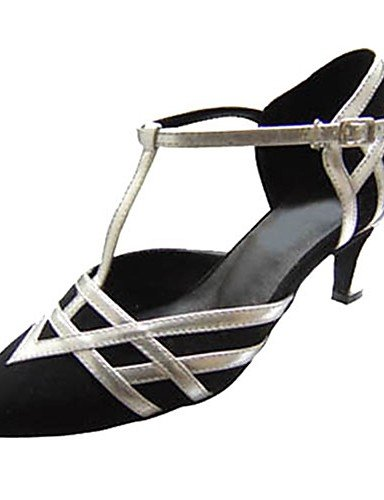 La mode moderne Sandales femmes personnalisables Chaussures de danse latine flocage/moderne/talons sandales talon intérieur personnalisé professionnel/noir,Black,US4-4.5/EU34/UK2-2.5/CN33