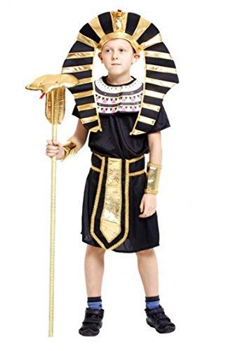Brcus Boys Kids Egyptian Pharaoh Halloween Cosplay Costume Robe Role Play Dress up Medium