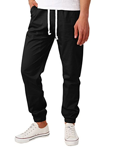 HEMOON Twill Chino Jogger Pants, Mens Casual Sweatpants Regular Fit Twill Chino Cargo Jogging Trousers Small Black