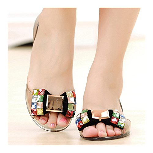 Chromatic Beach black Bowknot Beads Sandals Rhinestone Transparent Shoes 37 Jelly RRFp0v