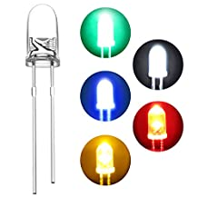 DiCUNO 400pcs 3mm Light Emitting Diode LED Lamp Assorted Kit White Red Yellow Green Blue Yellow Round Head Lights(5 colors x 80pcs)