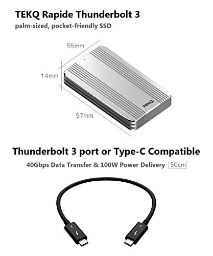[Certified] 480G TEKQ Thunderbolt 3 Portable External SSD Bus Powered Portable 2450MB/s Read / 1850MB/s Write (NOT Compatible with Device Without Thunderbolt 3 Interface)(Silver) by TEKQ (Image #1)