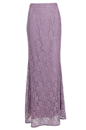 Flowerry Frauen-Spitze-Meerjungfrau-lange Röcke Hochzeits-Partei-formale volle Röcke Purple 2S0N8