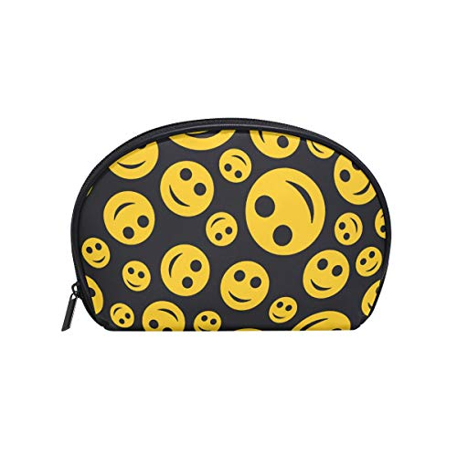 Makeup Bag Yellow Emoji Smil Face Black Cosmetic Pouch Clutch -