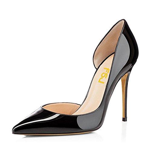 Fsj Donna Elegante Punta A Punta Décolleté Dorsay Stiletto Tacchi Alti Slip On Scarpe Formali Taglia 4-15 Us Black-patent