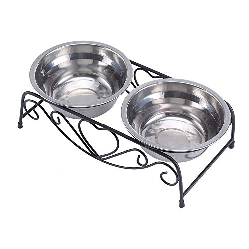 YIYU Pet Bowl Double Stainless Steel Bowls Dog Cat Pet Food Water Feeder Dish with Retro Iron Stand Pet Supplies