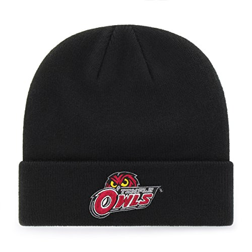 OTS NCAA Temple Owls Raised Cuff Knit Cap, Black, One Size (Owls Basketball)