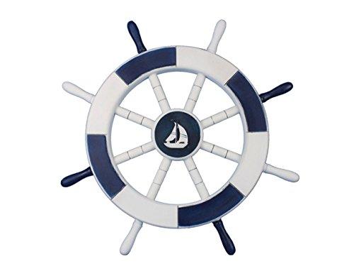 Hampton Nautical Timón de Barco rústico Decorativo con Ancla, de Madera, 45.72 cm, Celeste y Blanco, velero, Azul oscur y...