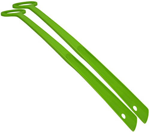 FootMatters 24 Inch Extra Long Handle Durable Easy-grip Shoe Horn - Multiple Color Options - No More Bending Over to Put Shoes on Great for Elderly, Disabled, Lime Green - 2 Pack