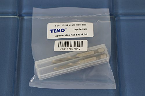 TEMO 2 pc 10-32 Combination Drill and Tap Multi Use Deburr Countersink Hex Bit by TEMO (Image #2)