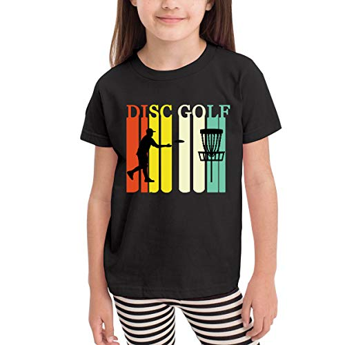 (Disc Golf Silhouette Retro Vintage 2-6 Years Old Child Short-Sleeved Tee Shirt Black)