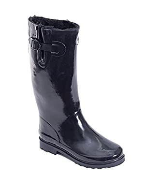 Amazon.com | Women Rubber Rain Boots / Lined Warm Snow Boots w ...