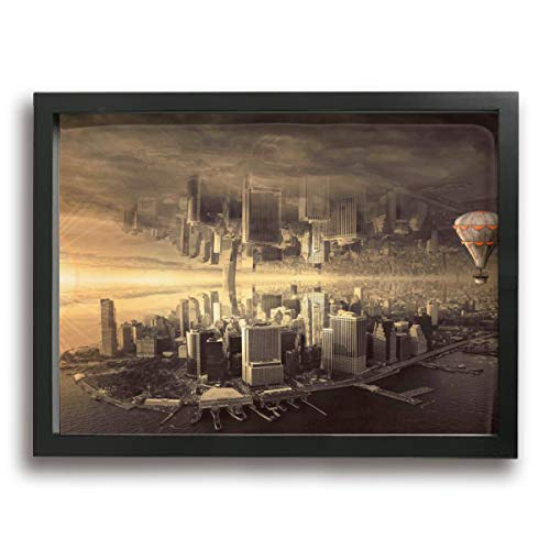 - Mikonsu Lihna 12x16 In Picture Frame Fantasy City Architecture Mood Skyline Composing- Photo Paintings Present, Pictures For Living Room Bedroom Decoration
