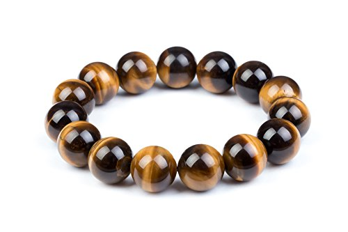 Mens Womens 6-20mm Beads Brown Tiger Eye Beaded Lucky Gemstone Stretch Bracelet Unisex Wrist (14mm)