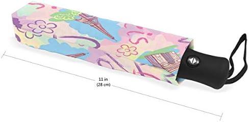 Chovy 日傘 UVカット ワンタッチ 折りたたみ傘 軽量 自動開閉 遮光 レディース メンズ 晴雨兼用 エッフェル塔 パリ 可愛い かわいい 白 ホワイト 雨傘 傘 晴雨傘 折り畳み 8本骨 遮熱 丈夫 耐風撥水 収納ポーチ付き プレゼント