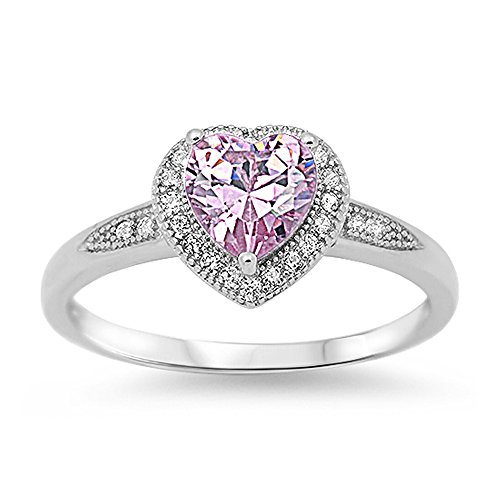 Sterling Silver Heart Pink & Clear CZ Promise Ring - October Birthstone