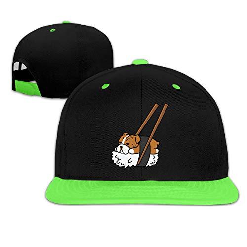 Fooroo9 Boys Girls Sushi English Bulldog Hip-Hop Baseball Hat, Adjustable Snapback Hats -