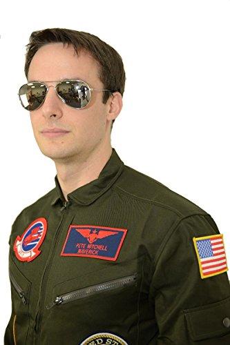 Top Gun Flight Suit Costume Women (Top Gun Maverick / Goose Costume + Sunglasses Party Men Flight Suit Jumpsuit (L))